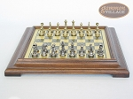 picture of Italian Brass/Silver Staunton Chessmen with Italian Brass Chess Board [Raised] (4 of 6)