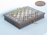 Italian Brass/Silver Staunton Chessmen with Italian Chess Board with Storage - Item: 744