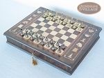 picture of Italian Brass/Silver Staunton Chessmen with Italian Chess Board with Storage (2 of 7)