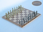 Teutonic Brass/Silver Chessmen with Deluxe Wood Chess Board