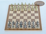 picture of Teutonic Brass/Silver Chessmen with Deluxe Wood Chess Board (3 of 6)