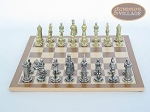 picture of Teutonic Brass/Silver Chessmen with Deluxe Wood Chess Board (4 of 6)