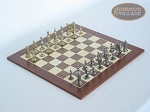 Teutonic Brass/Silver Chessmen with Spanish Wood Chess Board - Item: 752