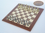 Teutonic Brass/Silver Chessmen with Spanish Wood Chess Board