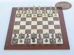 picture of Teutonic Brass/Silver Chessmen with Spanish Wood Chess Board (3 of 6)