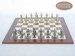 picture of Teutonic Brass/Silver Chessmen with Spanish Wood Chess Board (4 of 6)