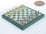Teutonic Brass/Silver Chessmen with Patterned Italian Leatherette Chess Board with Storage [Green] - Item: 755