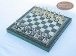 picture of Teutonic Brass/Silver Chessmen with Patterned Italian Leatherette Chess Board with Storage [Green] (2 of 7)