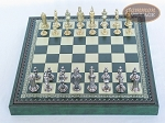 picture of Teutonic Brass/Silver Chessmen with Patterned Italian Leatherette Chess Board with Storage [Green] (3 of 7)