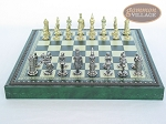 picture of Teutonic Brass/Silver Chessmen with Patterned Italian Leatherette Chess Board with Storage [Green] (4 of 7)