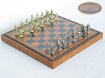 Teutonic Brass/Silver Chessmen with Patterned Italian Leatherette Chess Board with Storage [Brown] - Item: 754