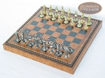 picture of Teutonic Brass/Silver Chessmen with Patterned Italian Leatherette Chess Board with Storage [Brown] (2 of 7)
