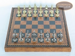 picture of Teutonic Brass/Silver Chessmen with Patterned Italian Leatherette Chess Board with Storage [Brown] (3 of 7)