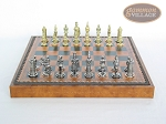 picture of Teutonic Brass/Silver Chessmen with Patterned Italian Leatherette Chess Board with Storage [Brown] (4 of 7)