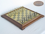 Teutonic Brass/Silver Chessmen with Italian Brass Chess Board [Raised] - Item: 756