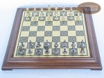 Teutonic Brass/Silver Chessmen with Italian Brass Chess Board [Raised]