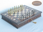 Teutonic Brass/Silver Chessmen with Italian Chess Board with Storage [Large] - Item: 753