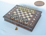 picture of Teutonic Brass/Silver Chessmen with Italian Chess Board with Storage [Large] (2 of 7)