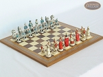 The Napoleon Chessmen with Spanish Mosaic Chess Board - Item: 793