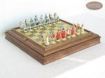 The Napoleon Chessmen with Italian Brass Chess Board with Storage - Item: 794