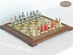The Napoleon Chessmen with Italian Brass Chess Board [Raised] - Item: 798