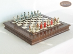 The Napoleon Chessmen with Italian Alabaster Chess Board with Storage - Item: 797