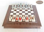 picture of The Napoleon Chessmen with Italian Alabaster Chess Board with Storage (3 of 8)
