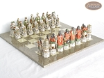 picture of Luxury Oriental Chessmen with Large Spanish Lacquered Chess Board [Grey] (1 of 8)
