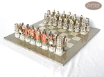 picture of Luxury Oriental Chessmen with Large Spanish Lacquered Chess Board [Grey] (2 of 8)