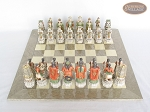 picture of Luxury Oriental Chessmen with Large Spanish Lacquered Chess Board [Grey] (3 of 8)