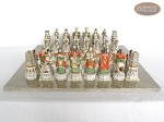 Luxury Oriental Chessmen with Large Spanish Lacquered Chess Board [Grey]