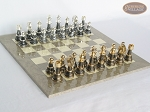The Grand Chessmen with Large Spanish Lacquered Chess Board [Grey] - Item: 815