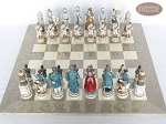 picture of Confederate vs. Union Chessmen with Large Spanish Lacquered Chess Board [Grey] (3 of 8)