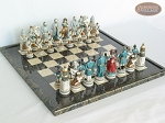 Confederate vs. Union Chessmen with Italian Lacquered Board [Black] - Item: 829