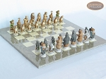 Jungle Life Chessmen with Large Spanish Lacquered Chess Board [Grey] - Item: 839