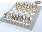picture of Jungle Life Chessmen with Large Spanish Lacquered Chess Board [Grey] (2 of 8)