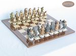 Jungle Life Chessmen with Spanish Lacquered Chess Board [Wood] - Item: 832