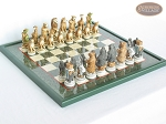 Jungle Life Chessmen with Italian Lacquered Chess Board [Green] - Item: 835