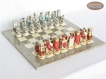 Egyptian Chessmen with Spanish Lacquered Chess Board [Grey] - Item: 843