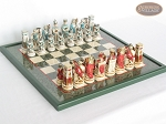 Egyptian Chessmen with Italian Lacquered Chess Board [Green] - Item: 847