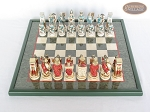 picture of Egyptian Chessmen with Italian Lacquered Chess Board [Green] (3 of 8)