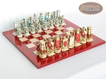 Egyptian Chessmen with Italian Lacquered Chess Board [Red] - Item: 845