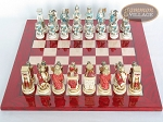picture of Egyptian Chessmen with Italian Lacquered Chess Board [Red] (3 of 8)
