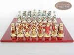 picture of Egyptian Chessmen with Italian Lacquered Chess Board [Red] (4 of 8)