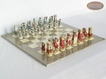 Egyptian Chessmen with Large Spanish Lacquered Chess Board [Grey] - Item: 842