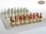picture of Egyptian Chessmen with Large Spanish Lacquered Chess Board [Grey] (5 of 8)