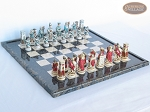 Egyptian Chessmen with Italian Lacquered Board [Black] - Item: 844