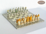 The Battle of Kazan Chessmen with Spanish Lacquered Board [Grey] - Item: 872