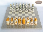 The Battle of Kazan Chessmen with Spanish Lacquered Board [Grey]