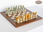 The Battle of Kazan Chessmen with Italian Lacquered Chess Board [Wood] - Item: 869